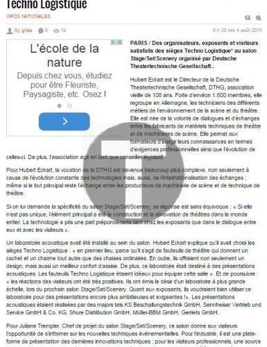 PresseAgence.fr : Retour sur le salon Stage Set Scenery avec Techno Logistique